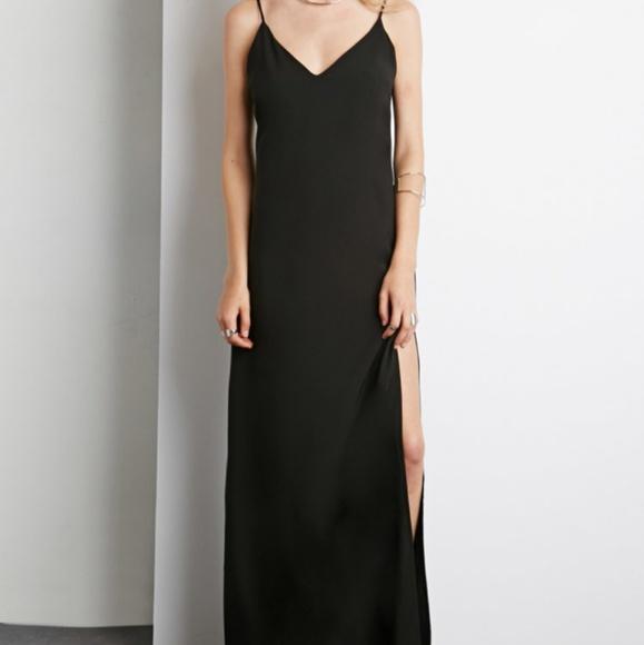 Forever 21 Dresses Black Maxi Dress With Side Split Poshmark